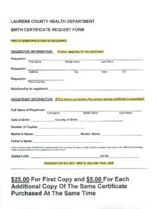 Laurens County Health Department Birth Certificate Request